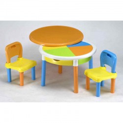 Round table + 2 chairs