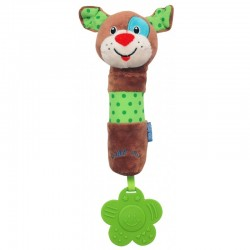 Plush rattle with squeaker Dog